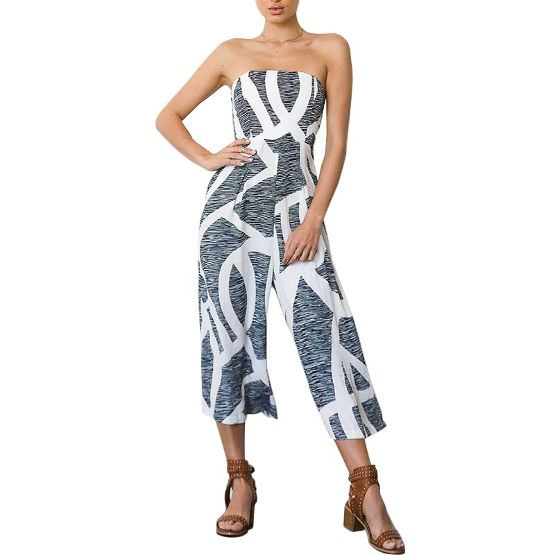 2770d9dd03f Boho Casual Beach Rompers Womens Jumpsuit Sexy Strapless Off Shoulder Print  Wide Leg Pants Elegant Jumpsuit Party Club Overalls
