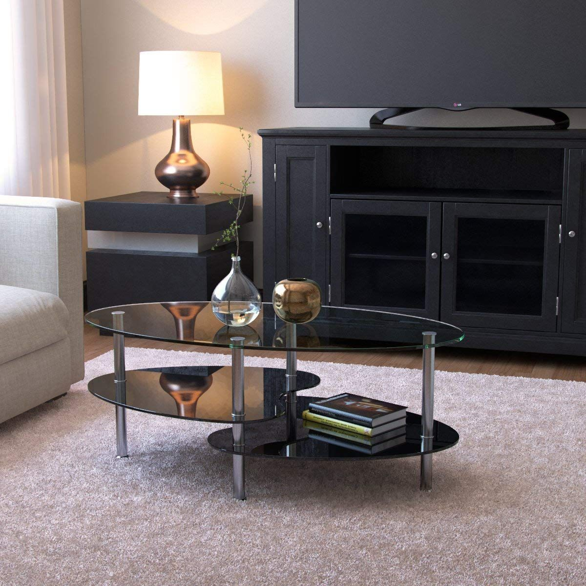 Amazon Com Ryan Rove Orion 38 Inch Modern Oval Two Tier Clear And Black Glass Coffee Table Clear Coffee Table Black Glass Coffee Table Coffee Table Vintage [ 1200 x 1200 Pixel ]