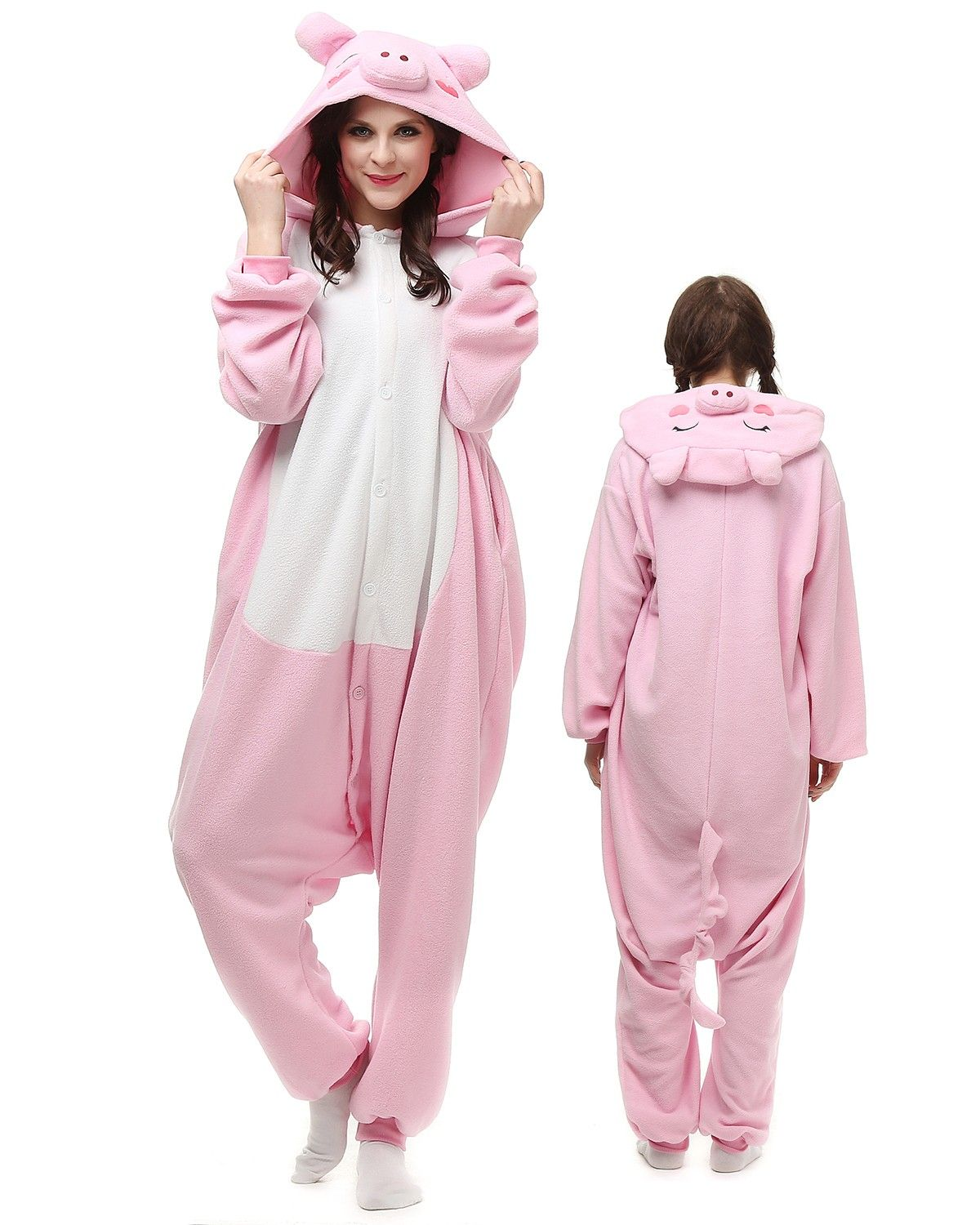 c10cd3d1ff Pink Pig Kigurumi Onesie Pajamas Polar Fleece Animal Unisex Costumes ...