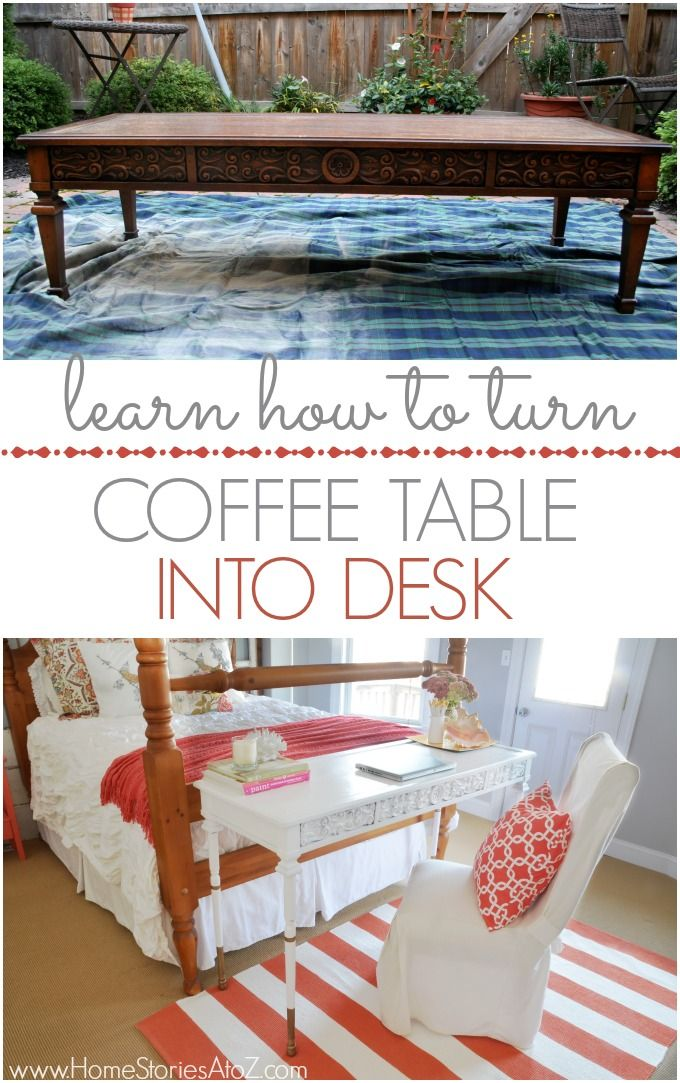 Furniture Hack How To Turn A Coffee Table Into A Desk Diy Sewing Table Furniture Hacks Refurbished Furniture