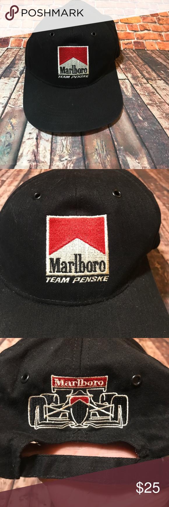 "ac3fdbc04cc1e Vntg Marlboro dad cap trendy Penske hat racing Vintage OS ""fits most"" black  Marlboro"