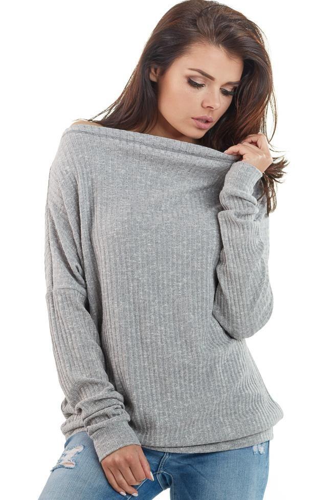 Szary damski sweter golf - Sweter z golfem - sklep eButik.pl