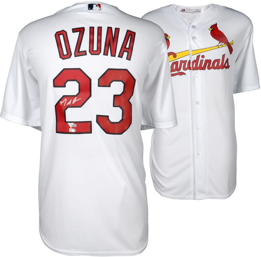 81073d100a75 Marcell Ozuna St. Louis Cardinals Autographed Majestic White Replica Jersey   Baseball