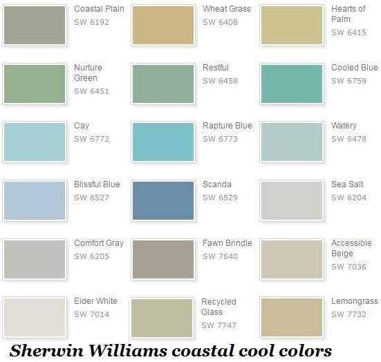 Sherwin Williams Coastal Cool Color Selections Pretty Paint
