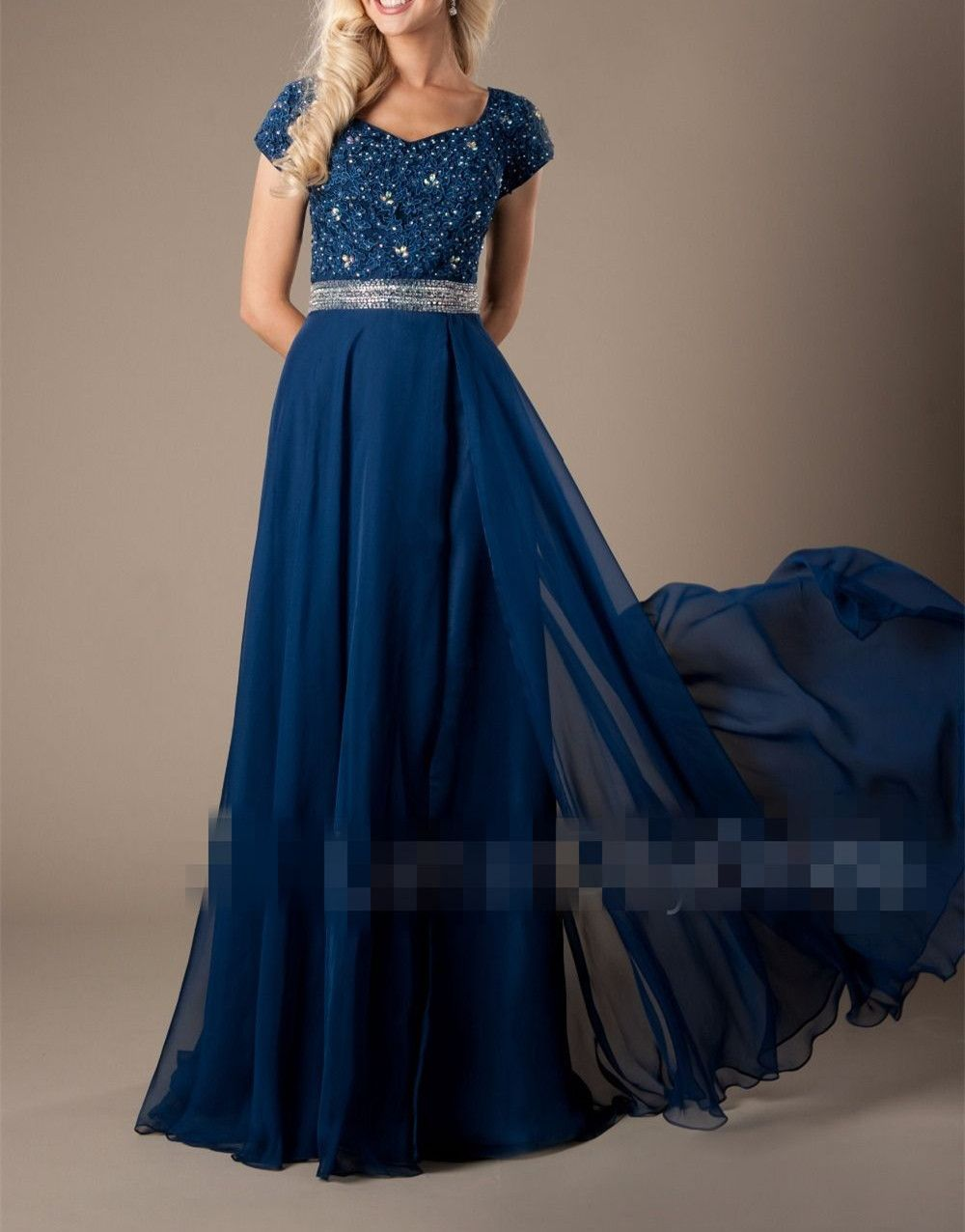 Sparkly navy beaded chiffon long prom dressescap sleeves party
