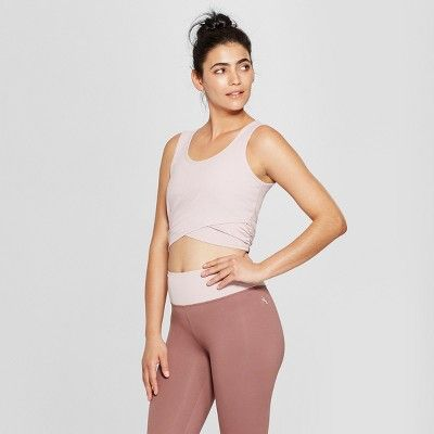 343c9e72b906c Women s Cropped Ribbed Tank Top with Mesh - JoyLab™ Violet Mist Blush XXL    Target