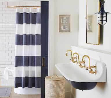 Hayden Rugby Shower Curtain Navy White