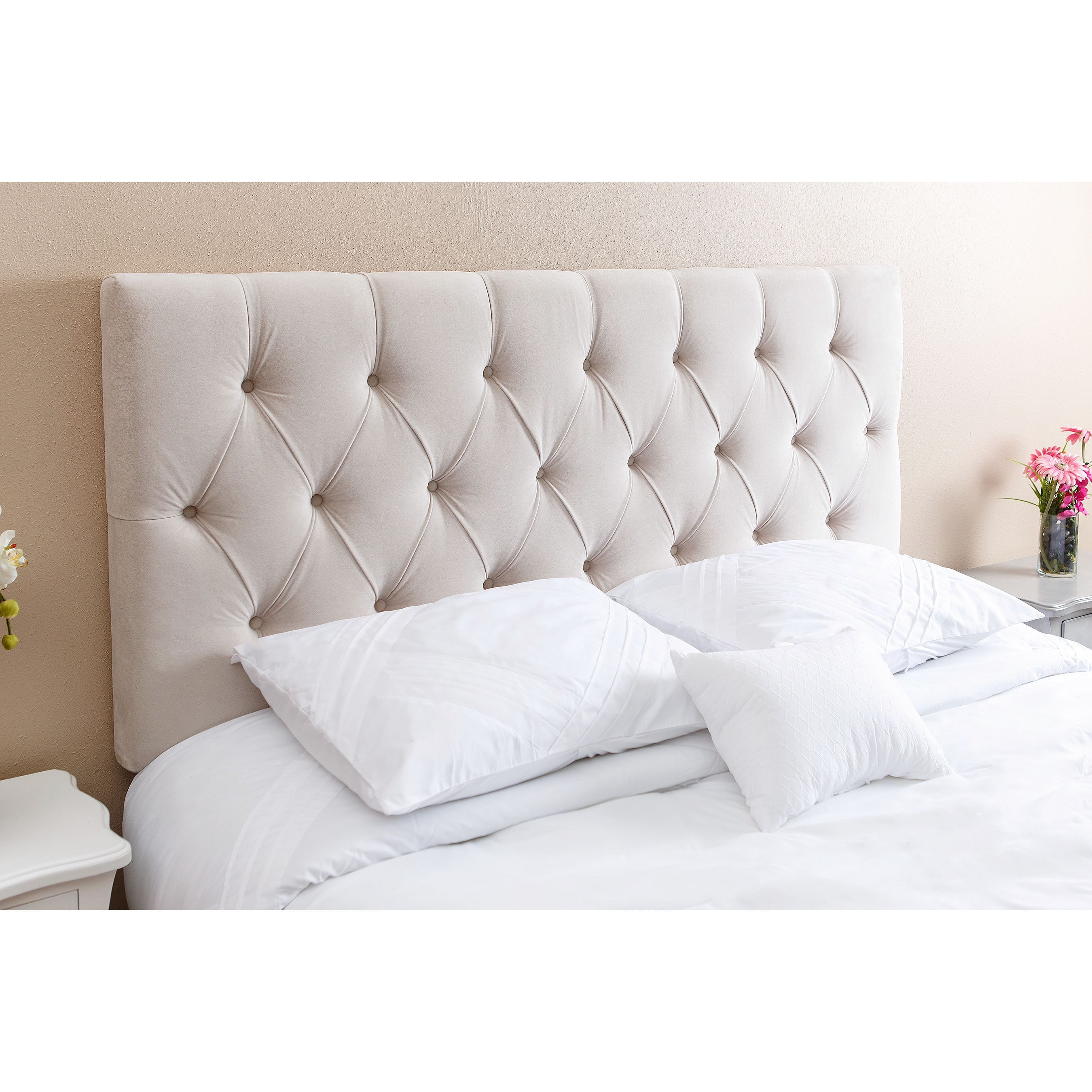 abbyson living connie tufted ivory velvet queen full headboard