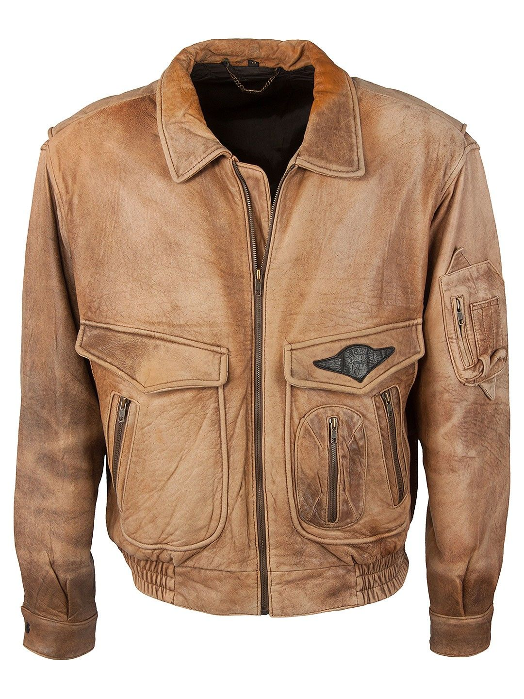 Vintage Peter Lucas Aviator Jacket - XL, Regular Fit, size XL. Colour Light Brown and made from 100% Cowhide Leather with Black Lining and and YKK Front Zip fastening.