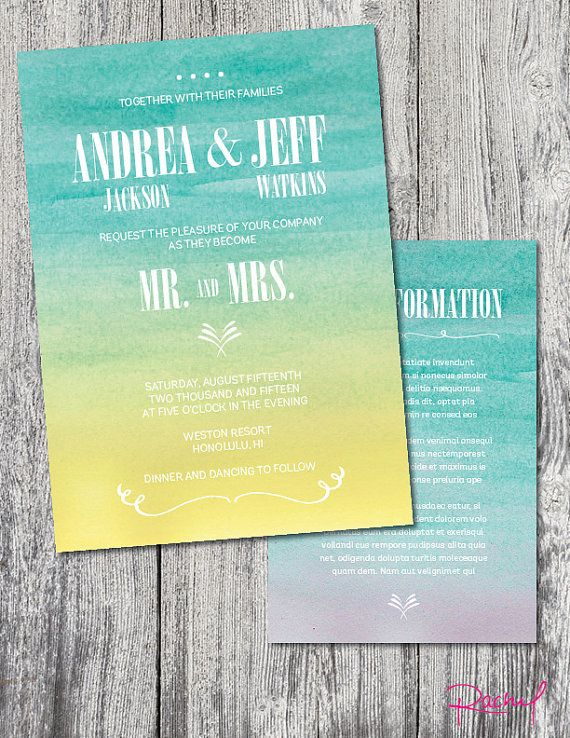 Wedding invitation custom sunset beach by RachelsWorkroom
