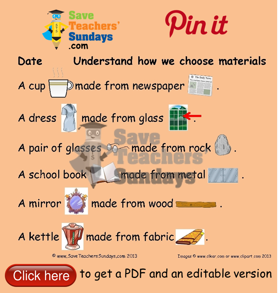 hight resolution of Why these materials would be unsuitable for these objects draw cartoon. Go  to http:/…   Teaching resources primary