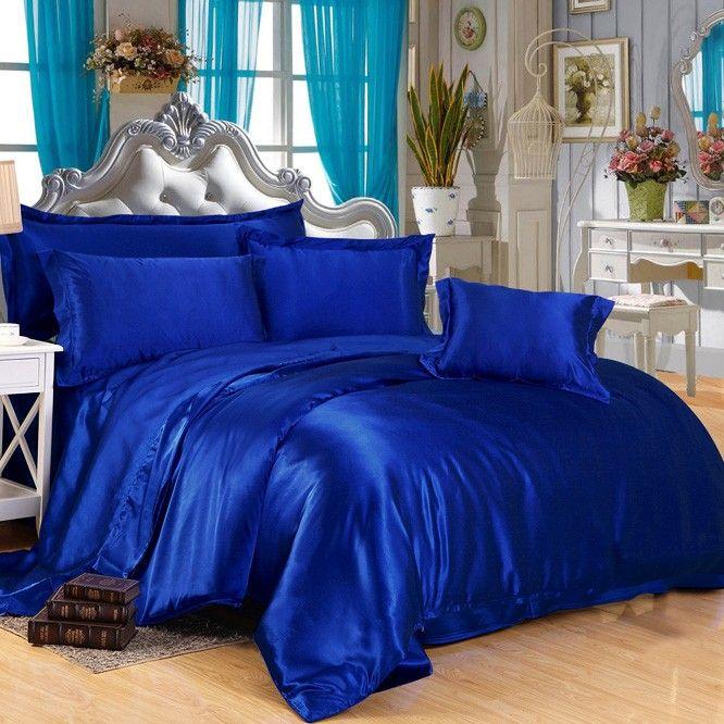 Royal Blue Silk Duvet Cover | Blue bedroom decor, Bed ...