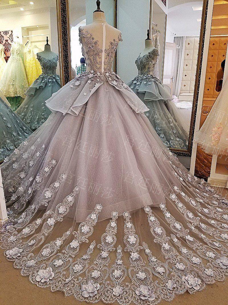 621ebe10ffc Grey Lace Flower Trailing Wedding Dress Elegant Ball Gowns
