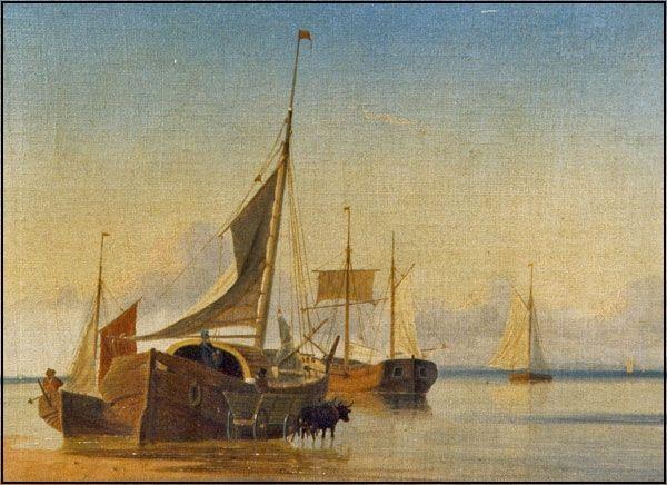 Kolvig overtager færgeriet Maleri af Viggo Faurholdt, 1850. Færgebåde på stranden ved Nordby eller Strandby