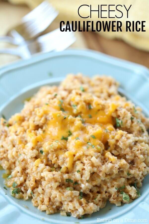 Cheesy Cauliflower Rice   - Eating on a Dime -Easy Cheesy Cauliflower Rice   - Eating on a Dime -