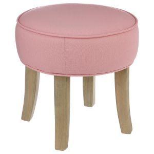 Tabouret Pouf rond tissu couleur vieux rose et pieds bois D35xH35cm