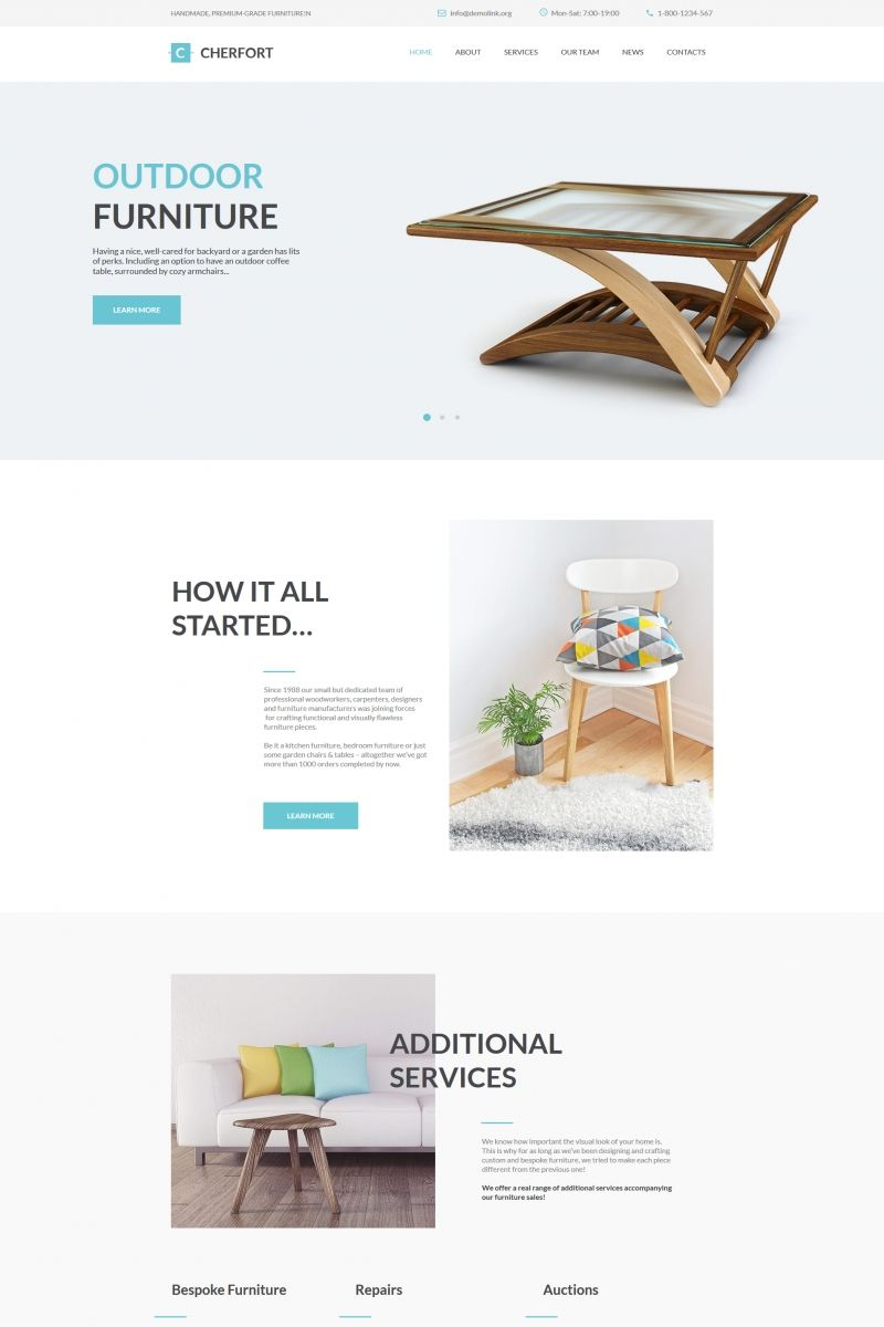 Cherfort - Furniture Company Moto CMS HTML Template | Design Bundle ...
