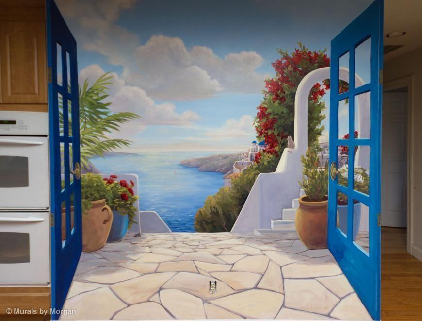 santorini trompe l 39 oeil mural close up trompe l 39 oeil. Black Bedroom Furniture Sets. Home Design Ideas