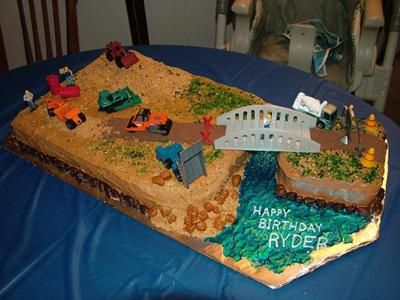 Construction Site Cake My son is really into trucks For his 2nd