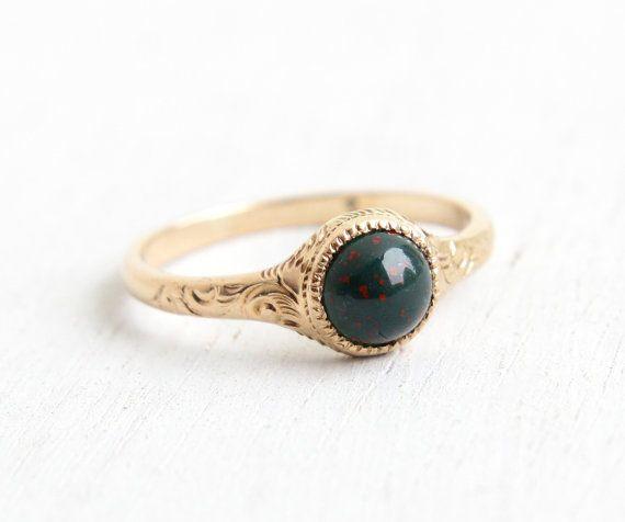 Antique 9k Rose Gold Edwardian Bloodstone Ring - Vintage