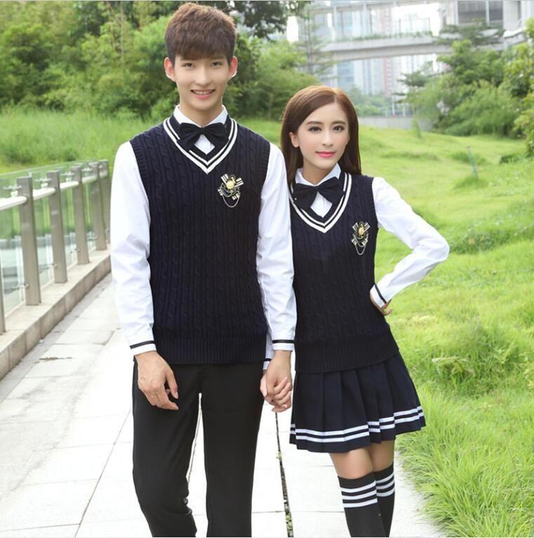 c0c149a259f06 Japanese school uniform Uniforme escolar Overalls England College Wind  Winer vest Korean school uniform Set