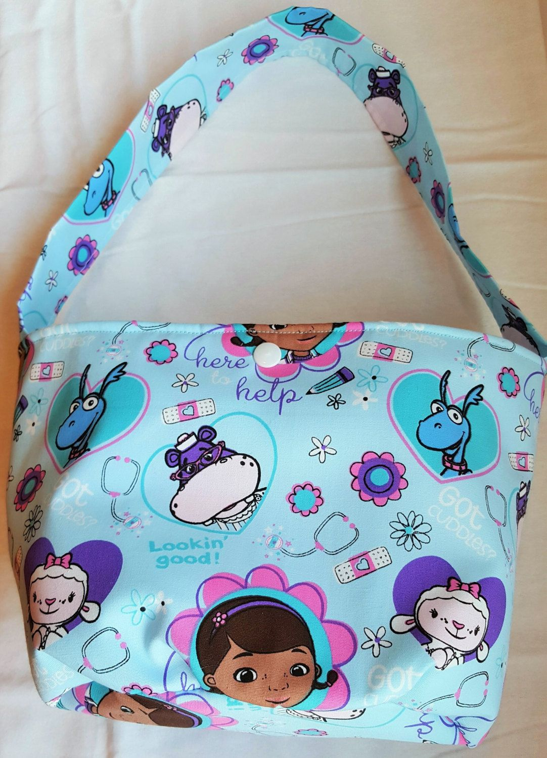 Doc McStuffins themed Girl's Bucket purse with matching accessories by SherrysCraftPatch on Etsy