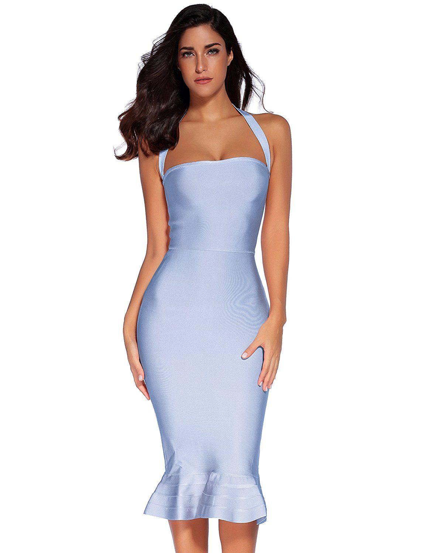 0c71b67e9c Amazon.com  Meilun Womens Rayon Halter Fishtail Bandage Party Dress   Clothing