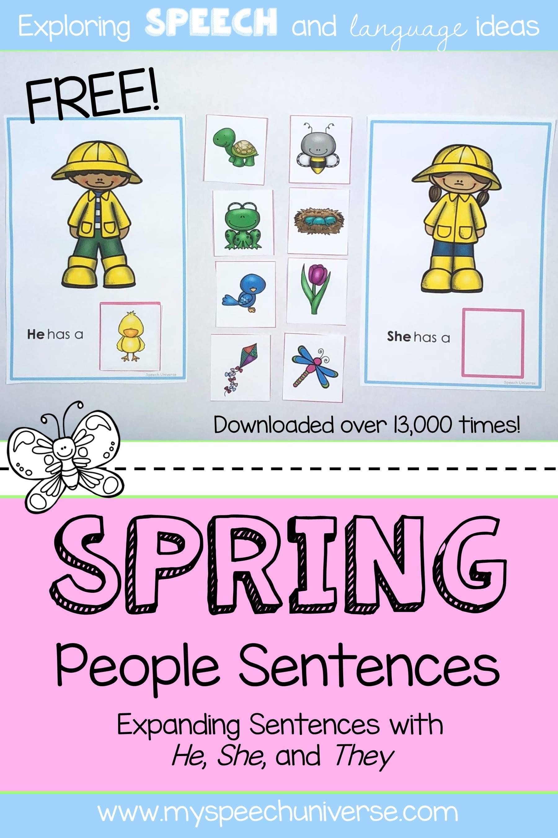 Spring People Sentences 3rd Person Pronouns
