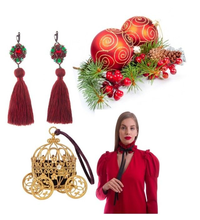 """Dress Russian princes and earrings Christmas Star on Yaroslavna.com"" by yaroslavna-dobryanskaya on Polyvore featuring мода"