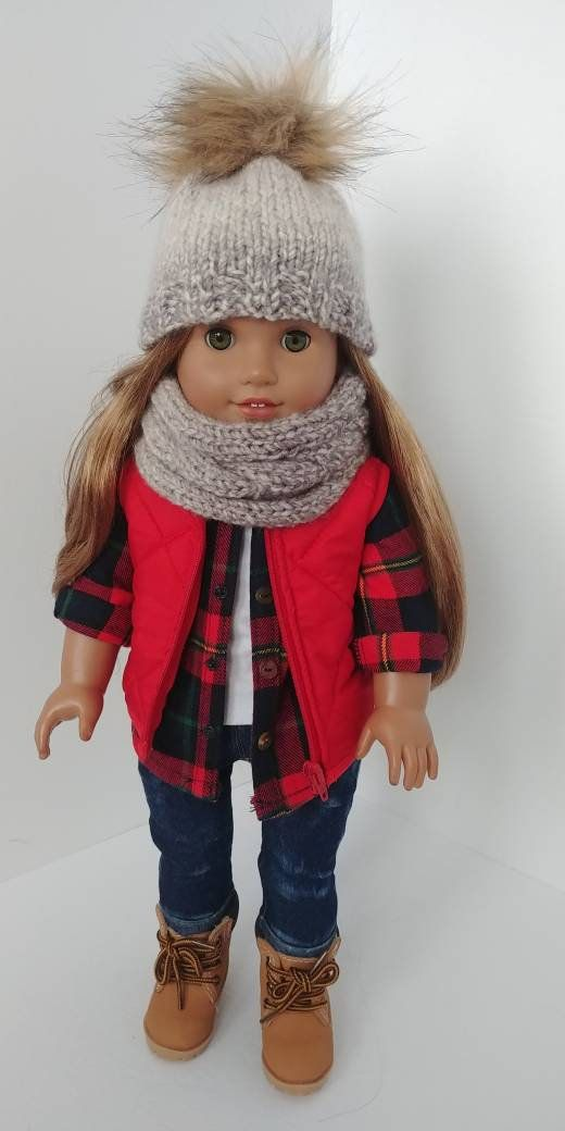 18 inch doll clothes. Fits like american girl doll clothes. 18 inch doll clothing. Hat and infinity scarf #americangirldollcrafts