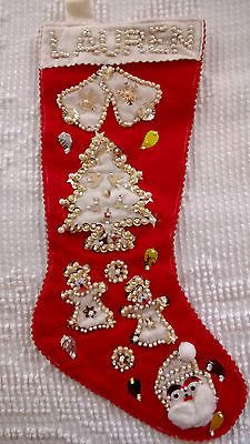 Vintage hand stitched red felt beaded pearl gold sequin christmas ...