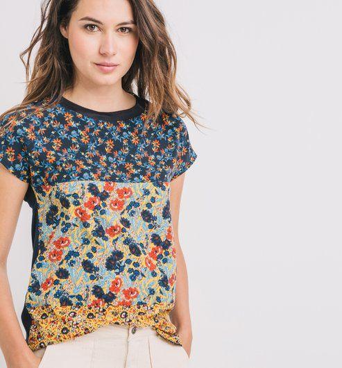 T-Shirt+mit+floralem+Print