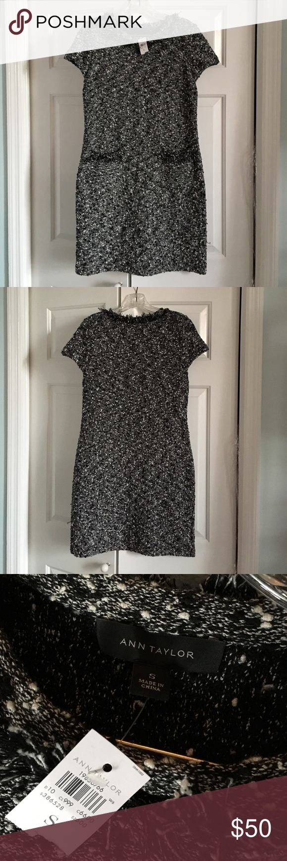 Ann Taylor Black and White Sweater Dress Size small.  Black and white sweater dress with fringe detail on collar and 2 front pockets.  Never been worn; tags still on.  Stretchy material.  Easy to wear and perfect for office. Ann Taylor Dresses