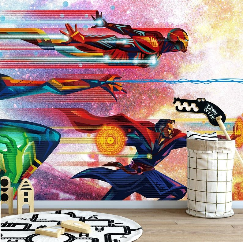 Marvel Comics Wall Mural Iron Man Endgame Wall Art Avengers Etsy Avengers Wallpaper Wall Murals Mural