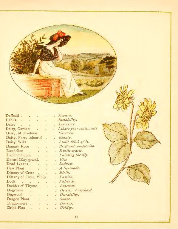 Illustration By Kate Greenaway For Language Of Flowers 1884