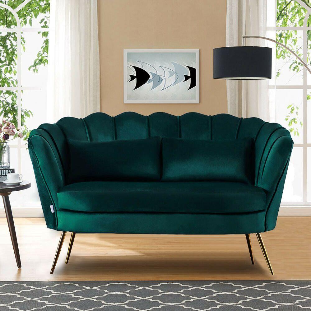 Emerald Green Velvet 2 Seater Sofa Armchair Couch Settee Lotus Shell Love Seat Unbranded Moderncontempora Home Decor Art Deco Living Room Modern Sofa Designs