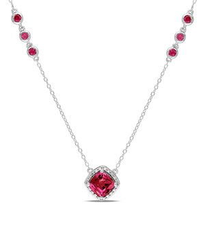 Another great find on #zulily! Ruby Framed Square Sterling Silver Pendant Necklace by Delmar #zulilyfinds
