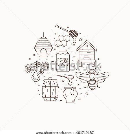 Honey Bee House Illustration. Honey Bee Vector Symbol. Bee ...