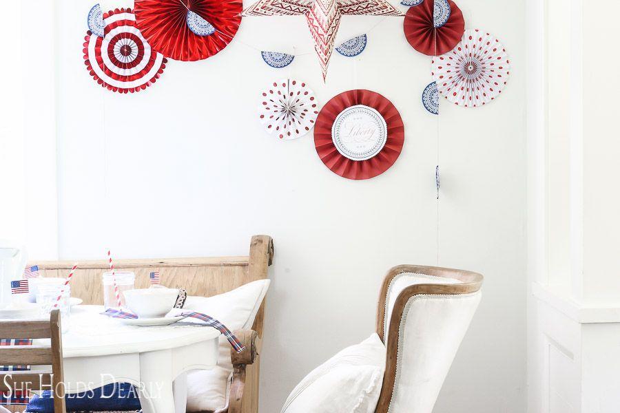 Patriotic Paper Fan Wall Decor | Summertime