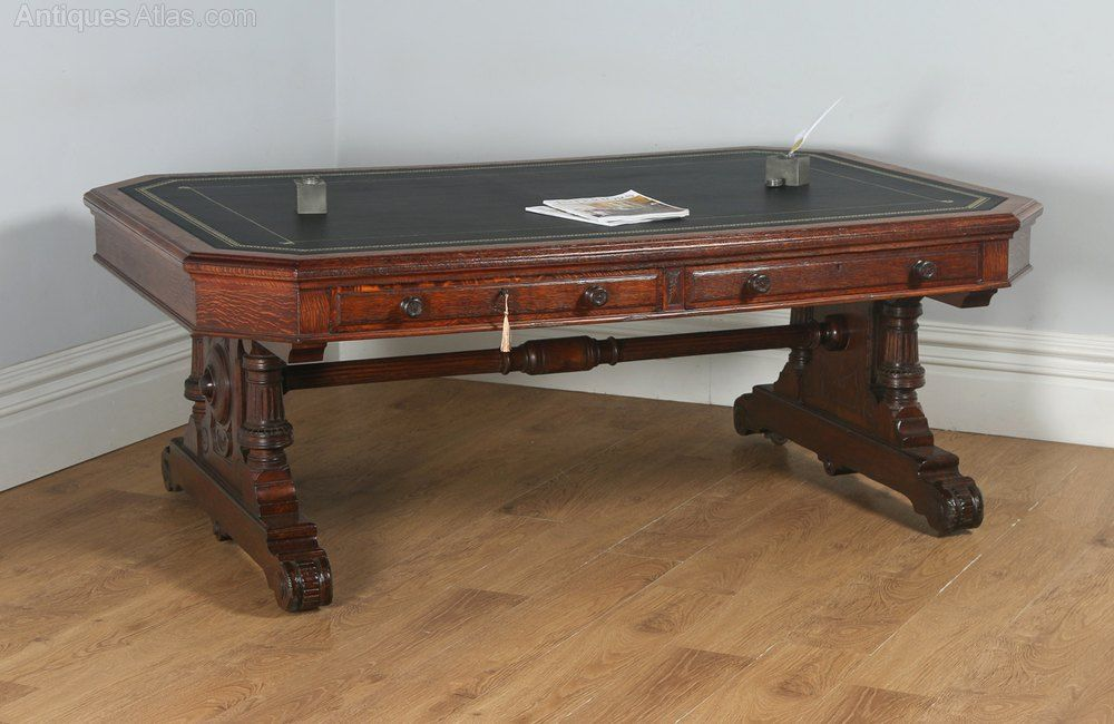 Victorian 6ft 6 Oak Leather Library Table Antiques Atlas