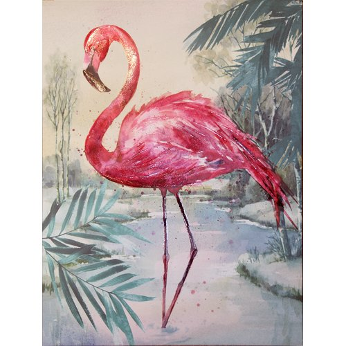 Flamingo Jungle Love Canvas Wall Art Print