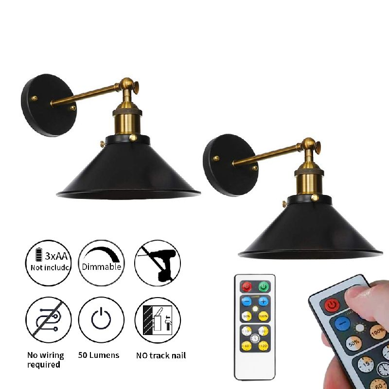 Nunulamp 2 Pack Led Battery Operated Wall Sconces Indoor Wireless Wall Sconce Light Fixture For Room Lighting Easy Installation Dimmable Control 55 Lumens Wireless Wall Sconce Battery Operated Wall Sconce Sconce Light Fixtures Battery operated wall sconce with remote