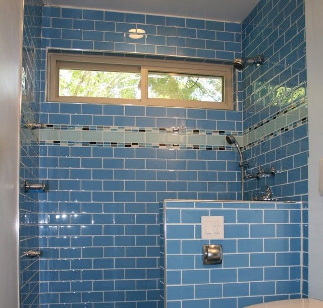 subway tile w accent stripe sophisticated glass subway tile blue color for remodel modern