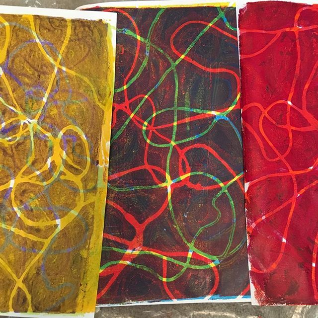 Gelli Printing With Embroidery String Too Much Studio Fun This
