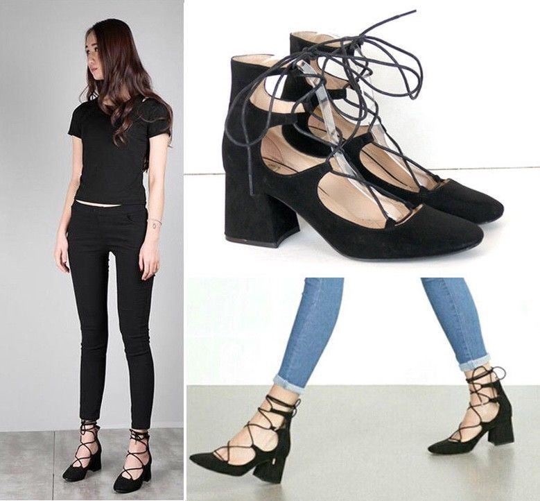 c2225cd3265 Details about NEW WOMENS LADIES CUT OUT HIGH BLOCK HEEL LACE UP ...