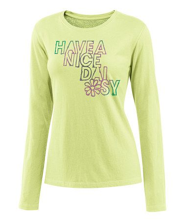 Take a look at this Citron Green 'Nice Daisy' Creamy Long-Sleeve Tee - Women by Life is good® on #zulily today!