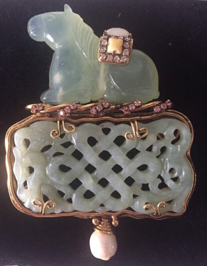 IRADJ MOINI Jade Pearl Horse brooch #IradjMoini