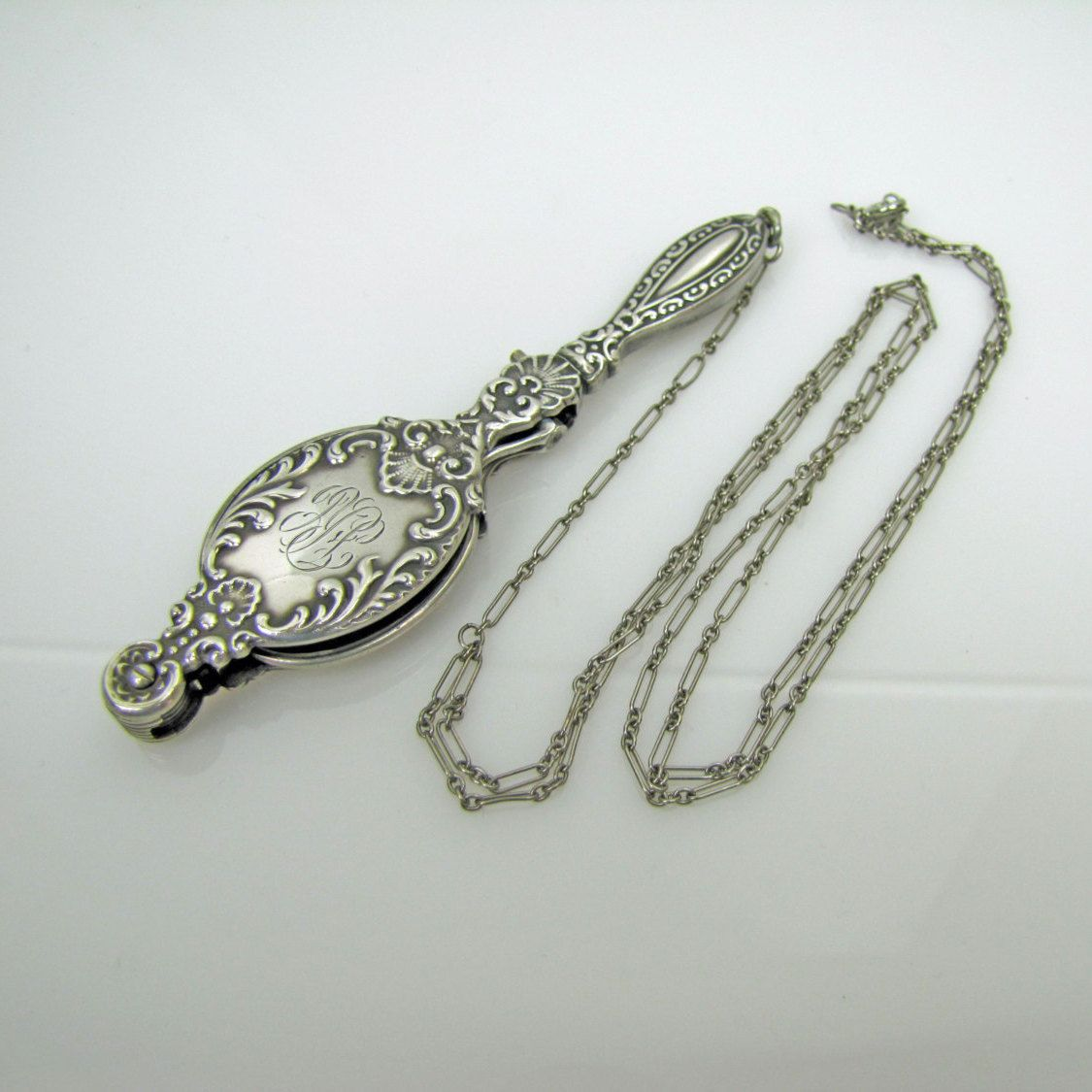 1d51af3bf6a8 Antique Sterling Silver Lorgnette. Art Nouveau Scroll Shell Design. Folding  Victorian Edwardian Reading Eyeglasses With Paper Clip Y Chain by  MercyMadge on ...