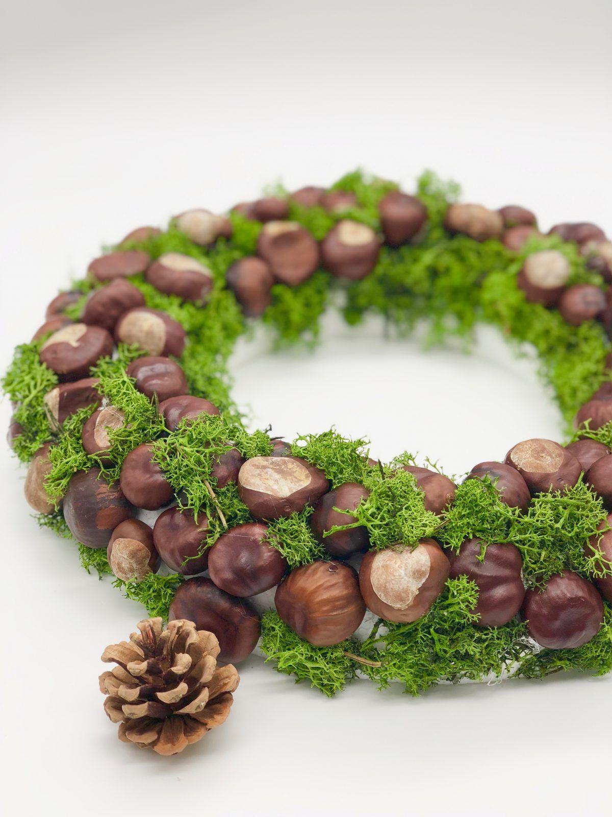 Herbstdeko basteln mit Kastanien - schöner DIY Herbstkranz