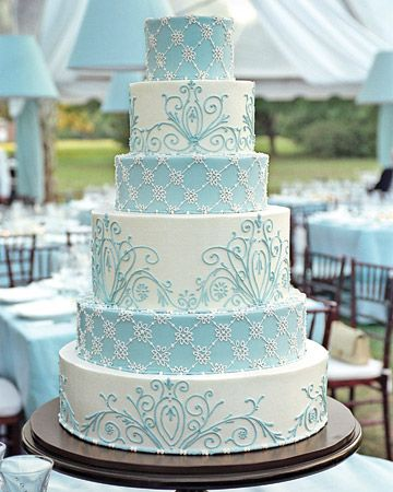White and blue buttercream wedding cake.